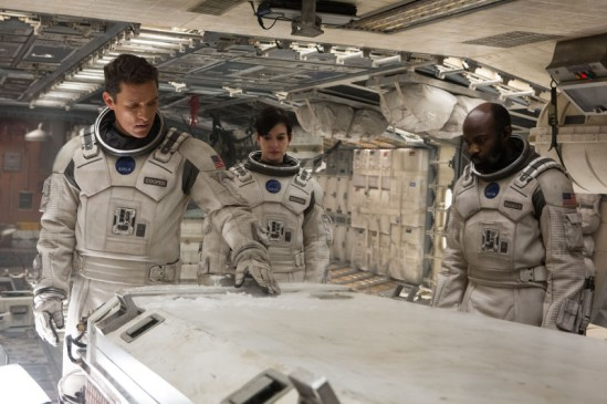 Matthew McConaughey, Anne Hathaway and David Gyasi in 'Interstellar.'  credit: Melinda Sue Gordon / Paramount