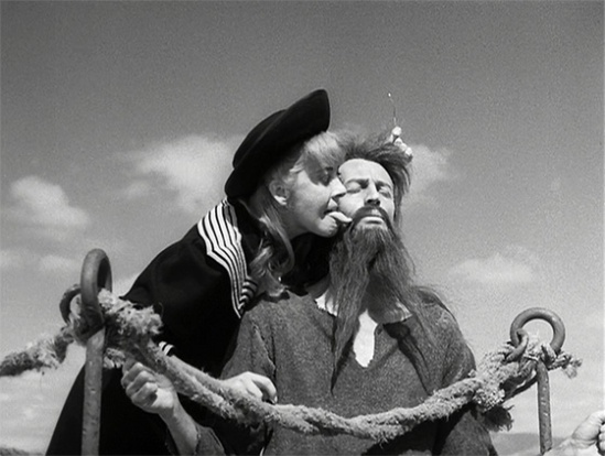 Silvia Pinal and Claudio Brook in 'Simon Of The Desert.'   credit: midnightonly.com